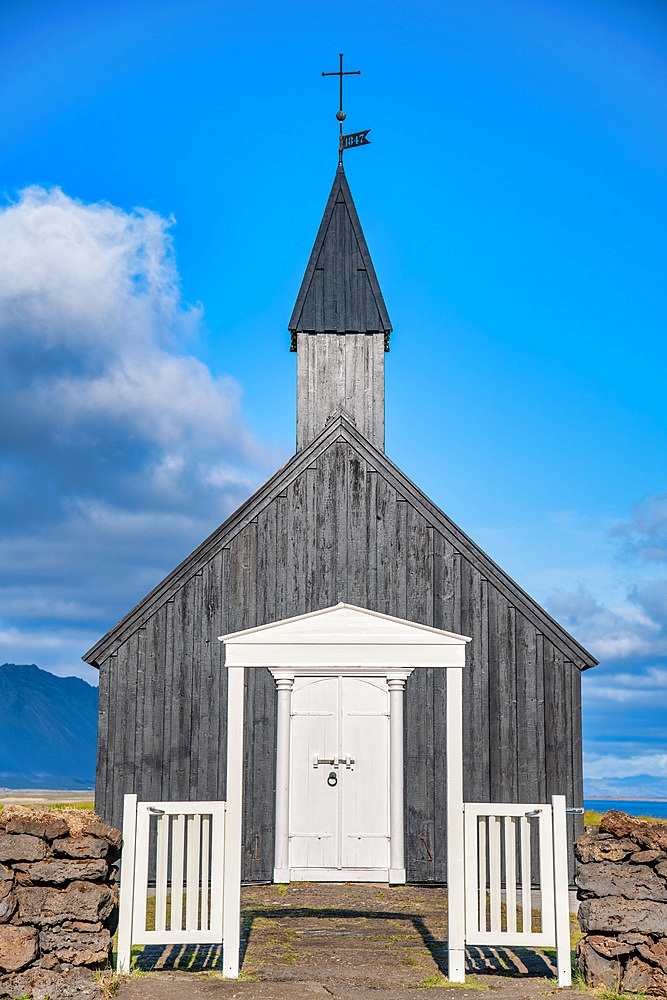 Black Church in Buda Beach, Snaefellnes Peninsula, Iceland.