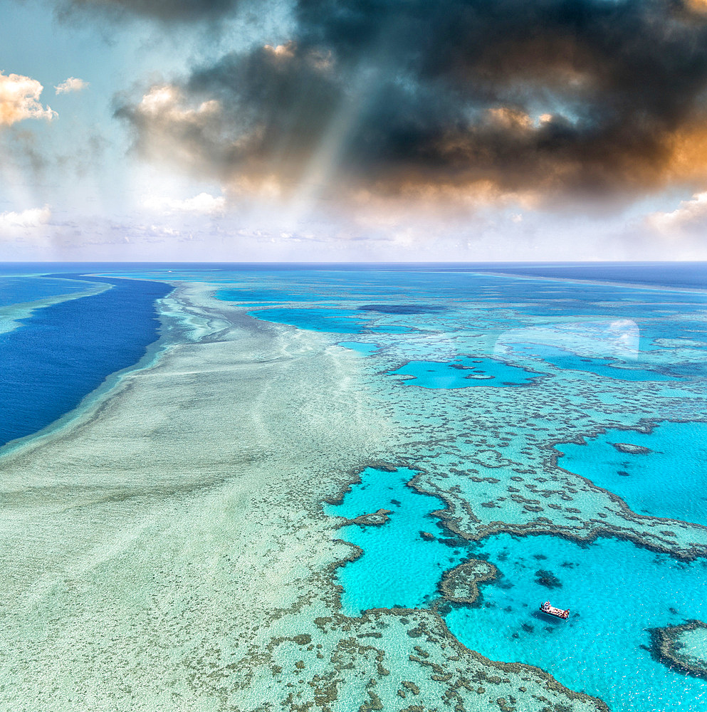 Aerial view of Coral Reef at sunset, Australia.
