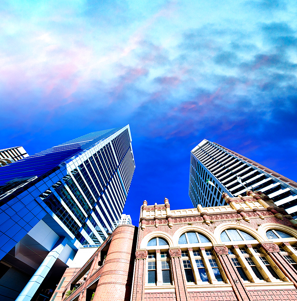 City buildings in Pitt Street, skyward view., Sydney.
