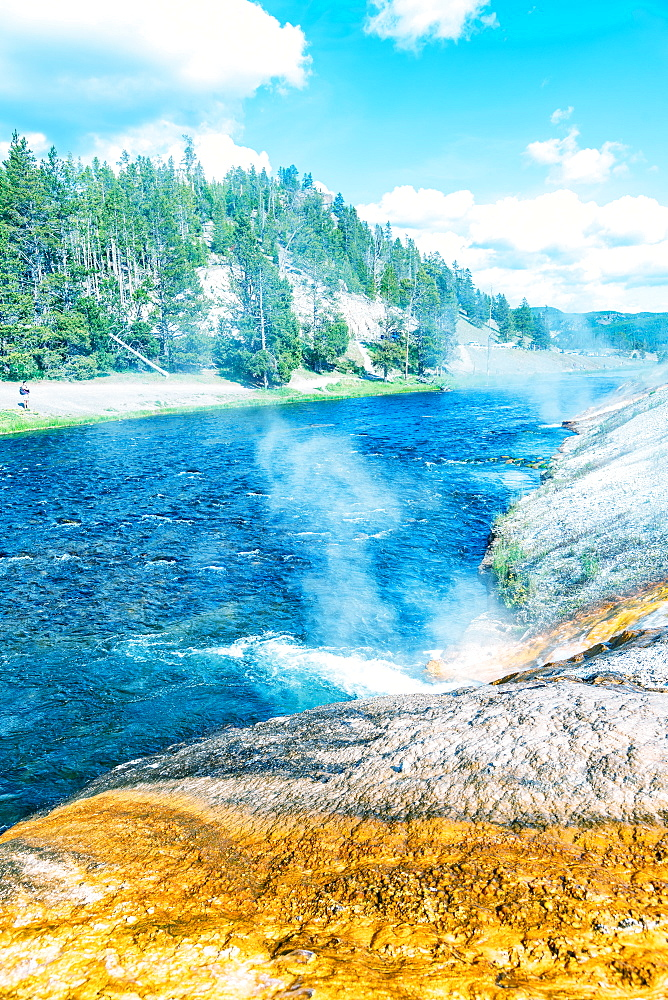 Firehole River in Yellowstone. Waterfalls of hot water.
