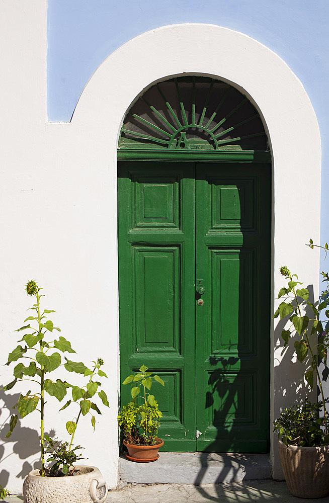 Typical door, Ventotene island, Pontine Islands, Lazio, Italy, Europe