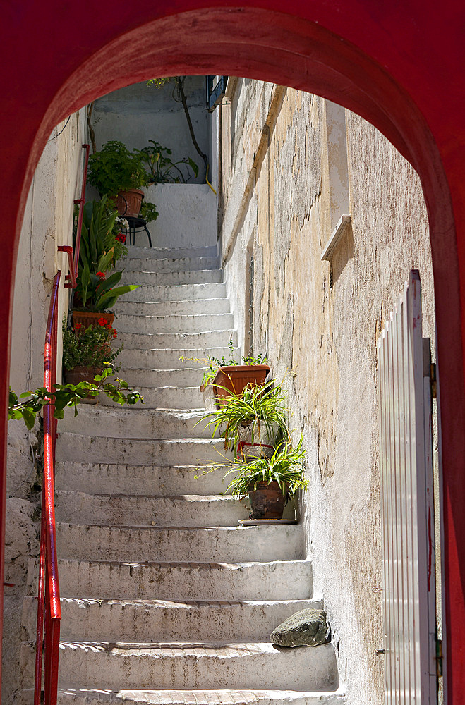 Typical coloured stairs, Ponza island, Pontine islands, Lazio, Italy, Europe