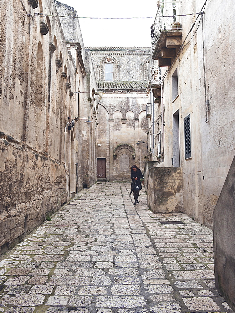 Old street in historical centre of the Sassi di Matera, Basilicata, Italy, Europe