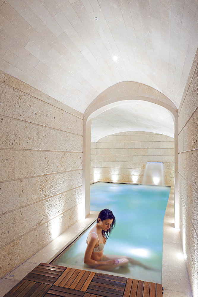 The indoor thermal baths of Palazzo Gattini Resort a luxury hotel located in Piazza del Duomo in Matera, Basilicata, Italy, Europe