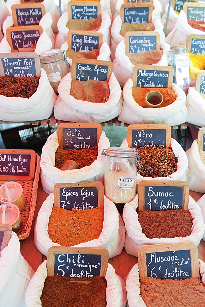 Spices at the summer market in Port Grimaud, Provence, France.
