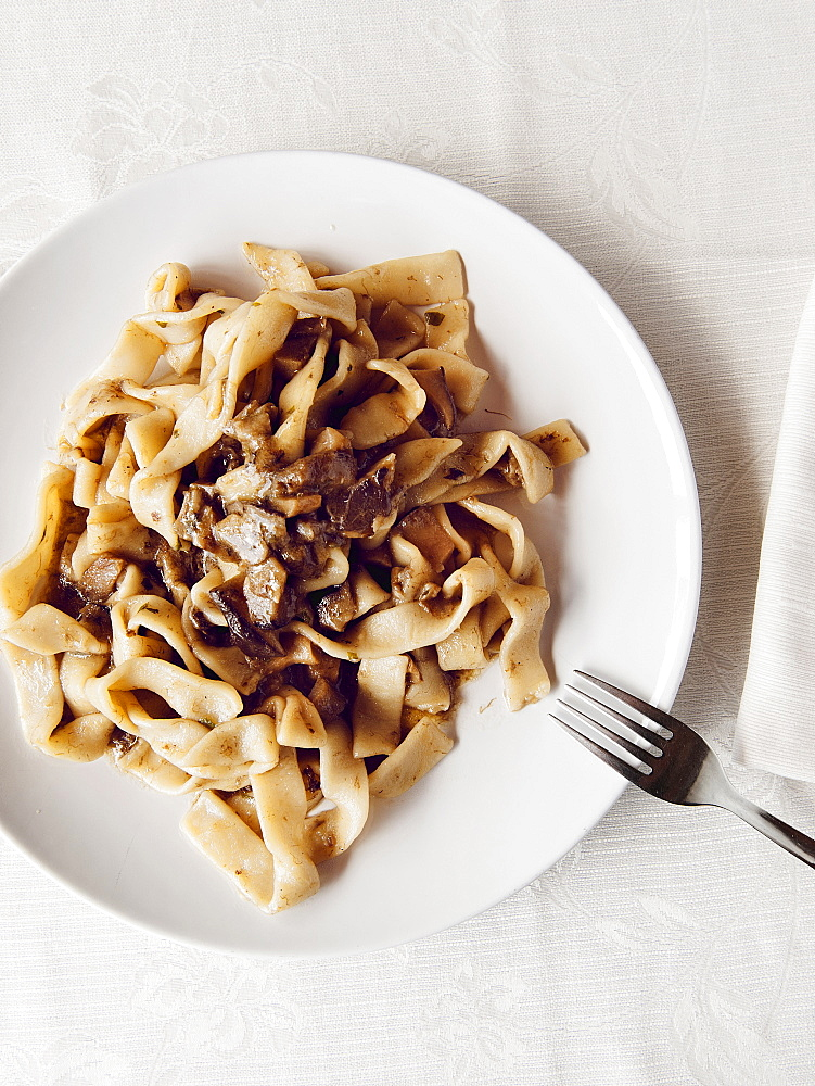 Hand made pasta fettuccine with organic porcini mushrooms, Il Giardino Di Epicuro restaurant, Maratea, Basilicata, Italy, Europe