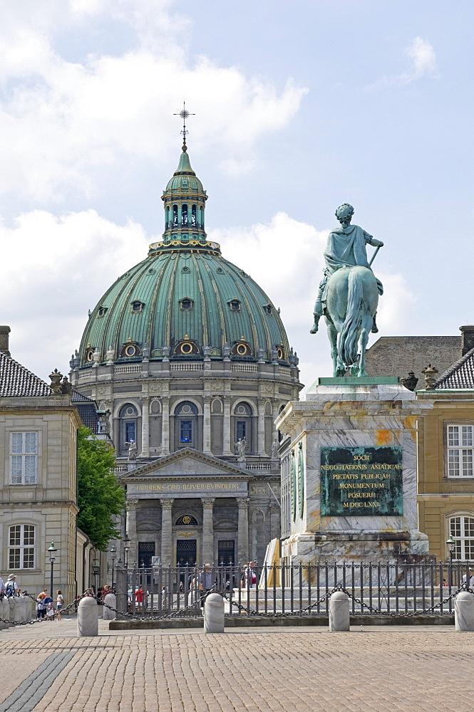 Frederik's Church from the inner courtyard of the Amalienborg Palace, Copenhagen, Denmark, Scandinavia, Europe
