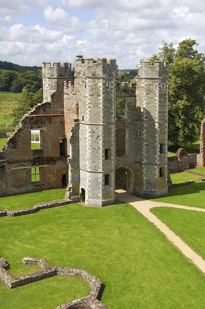 The inner gatehouse to the 16th century Tudor Cowdray Castle at Midhurst, West Sussex, England, United Kingdom, Europe