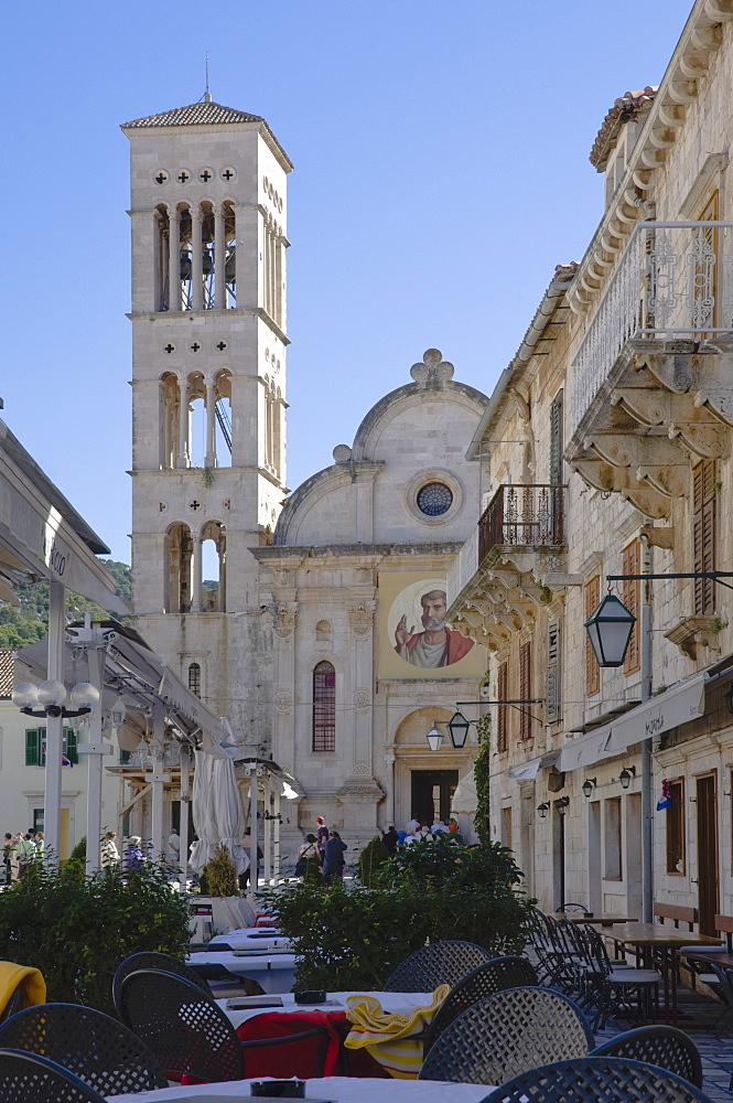 St. Stephen's Cathedral in the medieval city of Hvar, on the island of Hvar, Dalmatia, Croatia, Europe