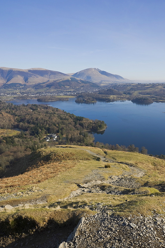 View across Derwent Water, Keswick, to Saddleback Fell from the Catbells Fell path, Lake District National Park, Cumbria, England, United Kingdom, Europe