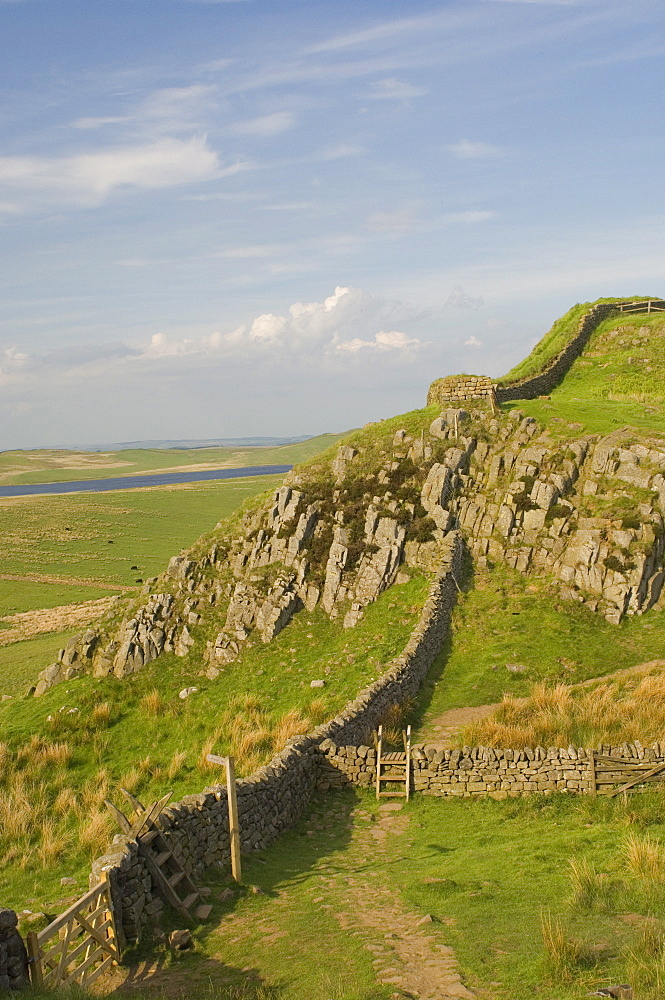 Pennine Way crossing near Turret 37a, Hadrians Wall, UNESCO World Heritage Site, Northumberland, England, United Kingdom, Europe