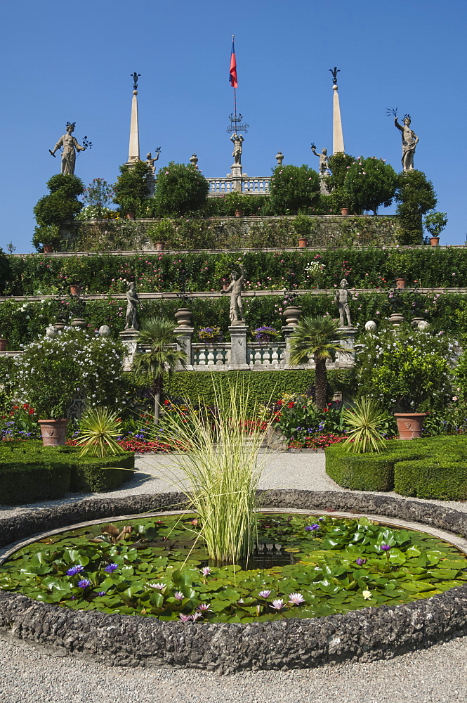 Floral terraces, Isola Bella, Lake Maggiore, Stresa, Borromean Islands, Italian Lakes, Piedmont, Italy, Europe - 747-1812