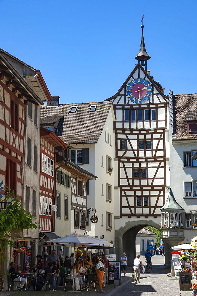 Traditional architecture, mural, Gate Tower and clock, Street scene, Stein am Rhein, Schaffhausen, Switzerland, Europe