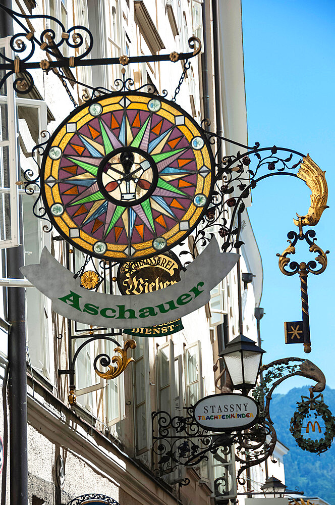 Elaborate Shop Sign, Getreidegasse, Altstadt, Mozarts Birthplace, World Heritage Site, Salzburg, Auistria, Europe, EU