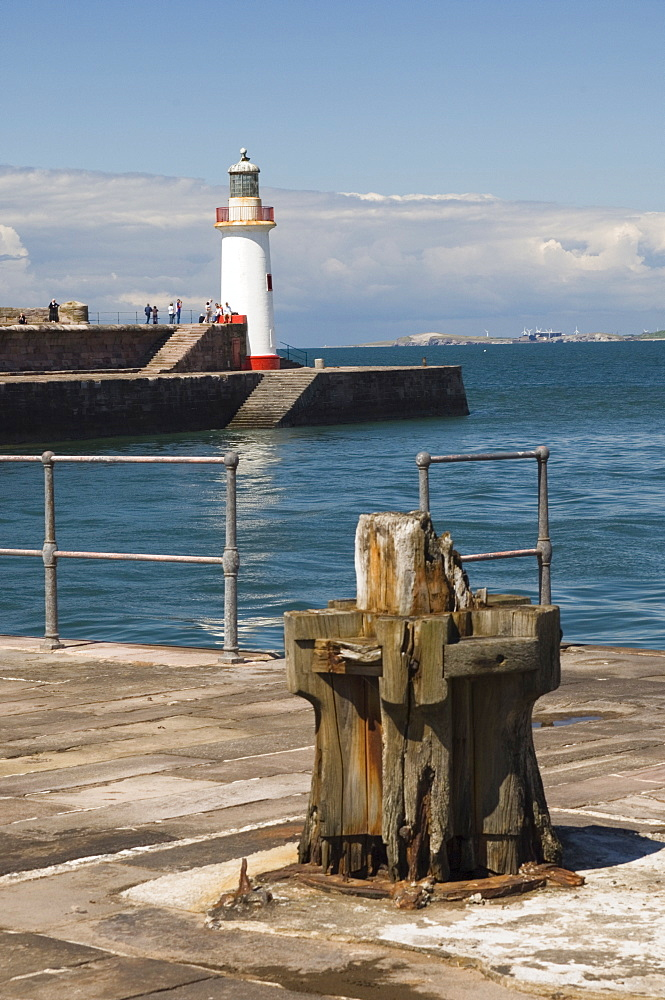 Lighthouse at entrance to outer harbour, Whitehaven, Cumbria, England, United Kingdom, Europe