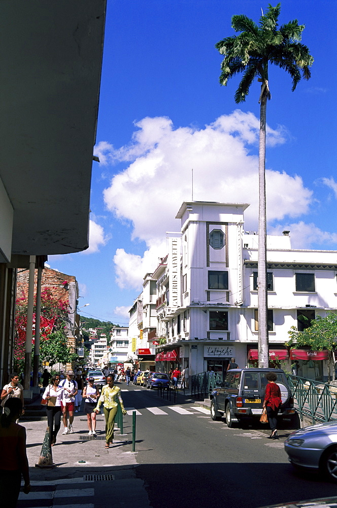 Street scene with Galeries LaFayette in centre of Fort de France, Martinique, Lesser Antilles, West Indies, Caribbean, Central America