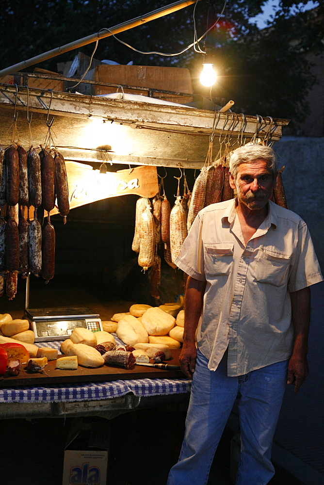 Local food stall selling salamies and cheese in Cafayate, Salta Province, Argentina, South America
