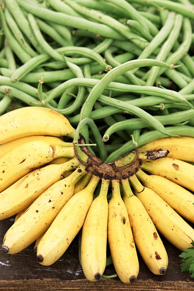 Bananas and green beans at the market, Martinique, Lesser Antilles, West Indies, Caribbean, Central America