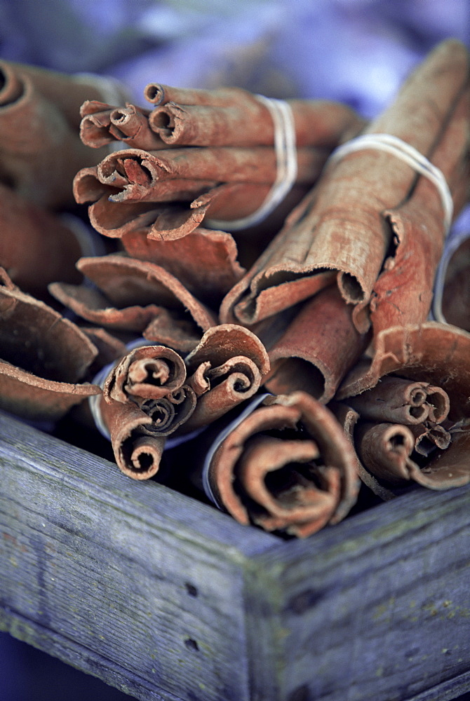 Cinnamon sticks at the market, Fort de France, island of Martinique, Lesser Antilles, French West Indies, Caribbean, Central America
