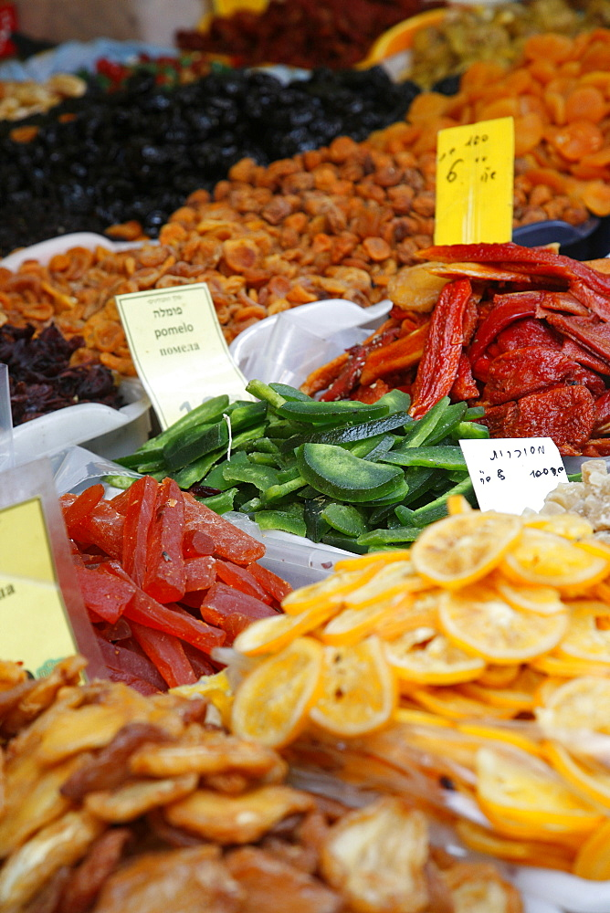 Food on a stall in Shuk HaCarmel market, Tel Aviv, Israel, Middle East
