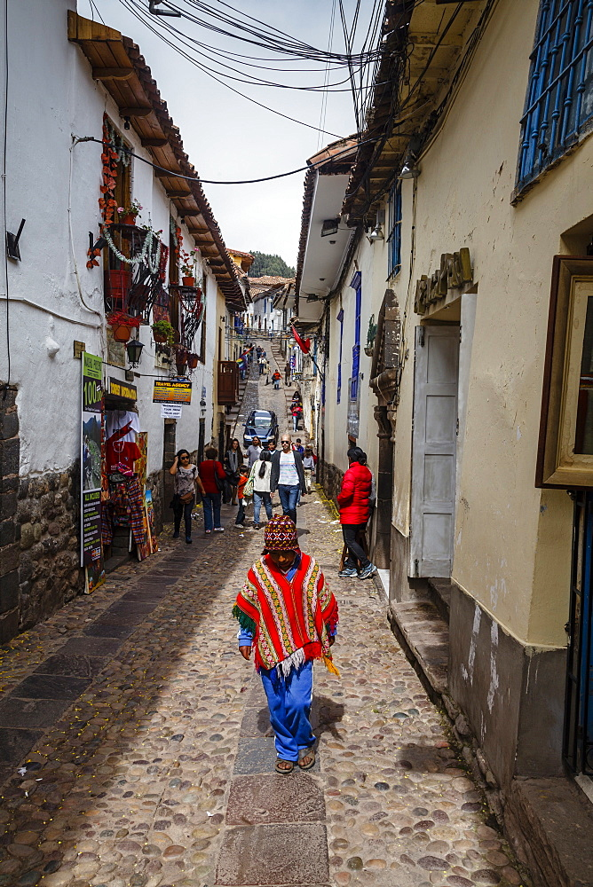 Street scene in San Blas neighborhood, Cuzco, Peru, South America