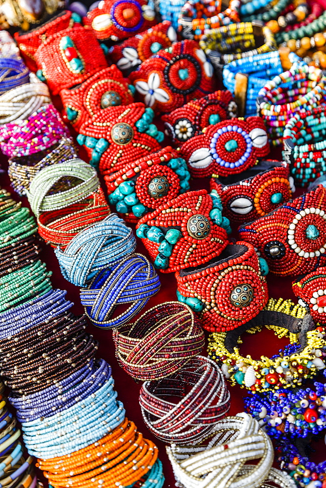 Detail of bracelets and rings at the Tibetan Market in Wednesday Flea Market in Anjuna, Goa, India, Asia