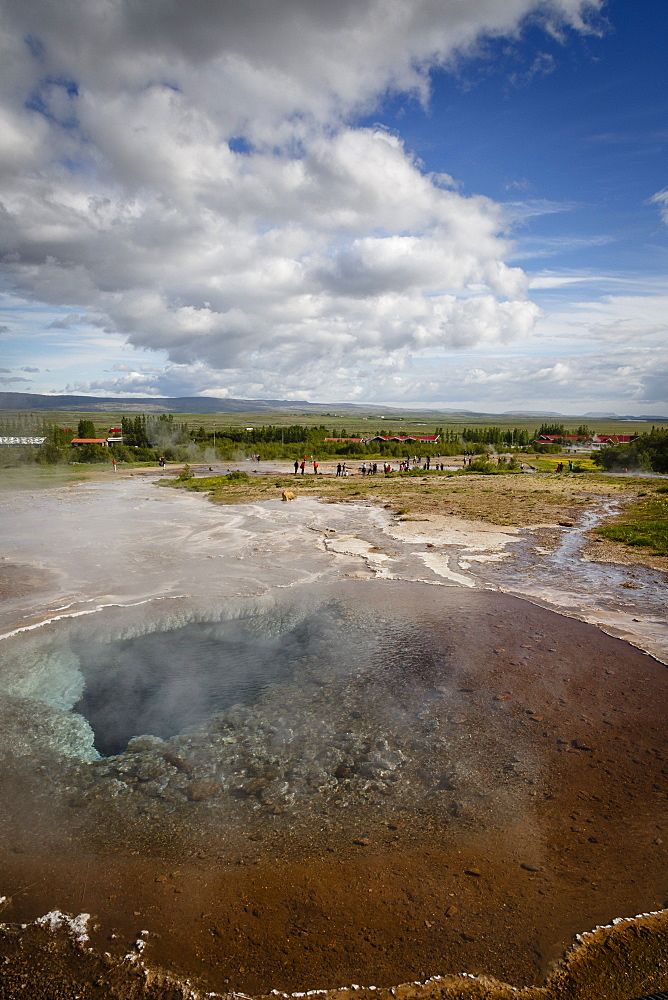 A geothermal hotspring pool with dissolved minerals, Geysir, Golden Circle, Iceland, Polar Regions
