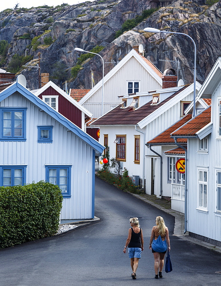 Street scene in Fjallbacka, Bohuslan region, west coast, Sweden, Scandinavia, Europe