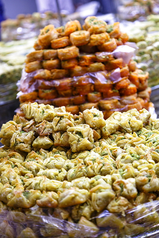 Baklava, an Arab sweet pastry at a shop in the Old City, Jerusalem, Israel, Middle East