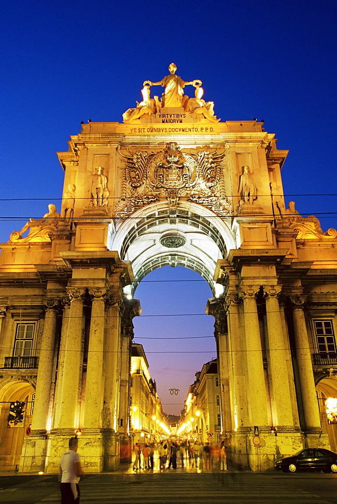 Rua Augusta Arch, Praca do Comercio, Lisbon, Portugal, Europe