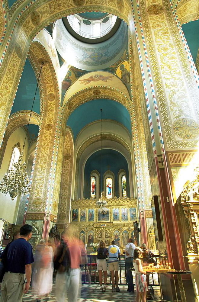 Interior of the Russian Orthodox Alexander Nevsky Cathedral, Toompea, Tallinn, Estonia, Baltic States, Europe