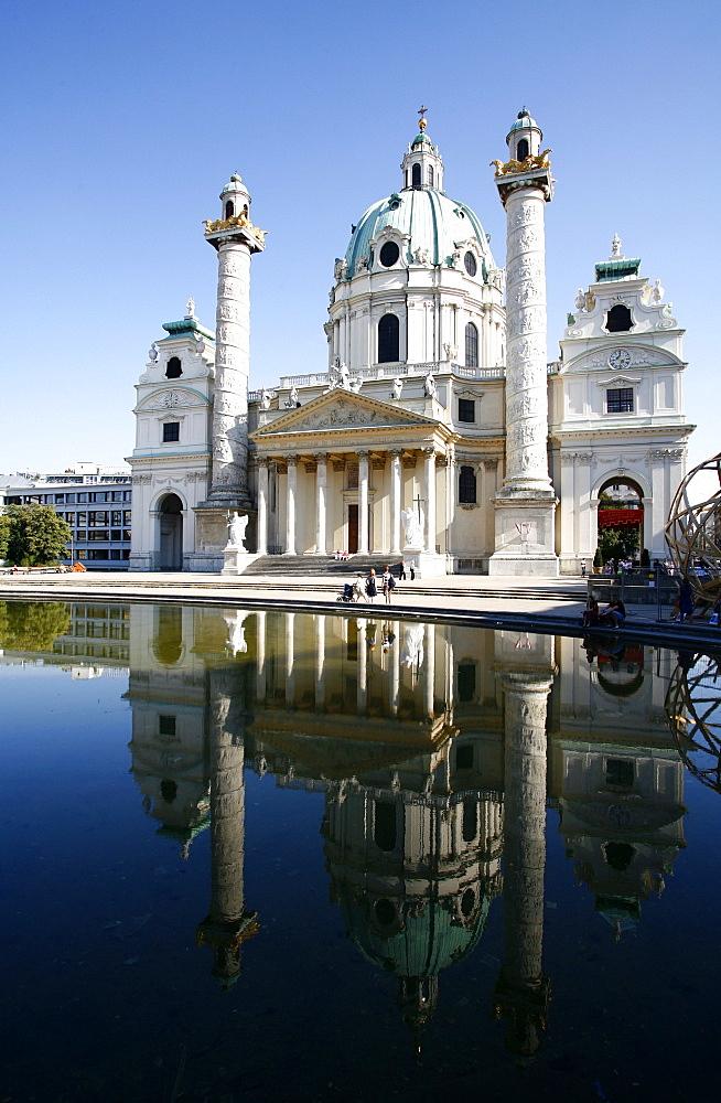 Karlskirche (St. Charles Borromeo church) by Fischer von Erlach in Karlsplatz, Vienna, Austria, Europe
