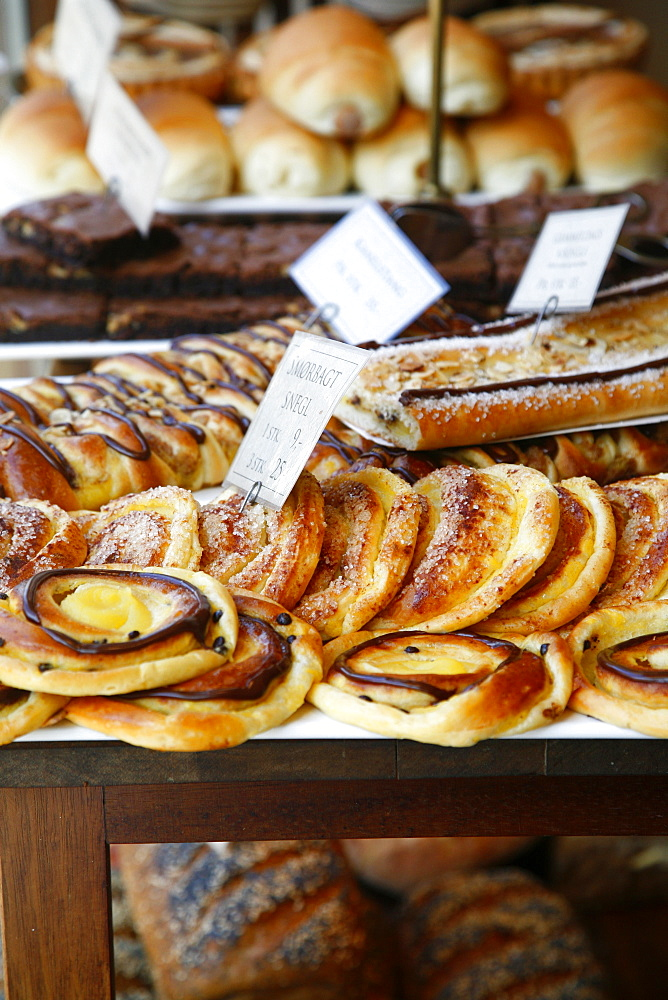 Traditional Danish pastry at Bager Lucas bakery in Tonder, Jutland, Denmark, Scandinavia, Europe