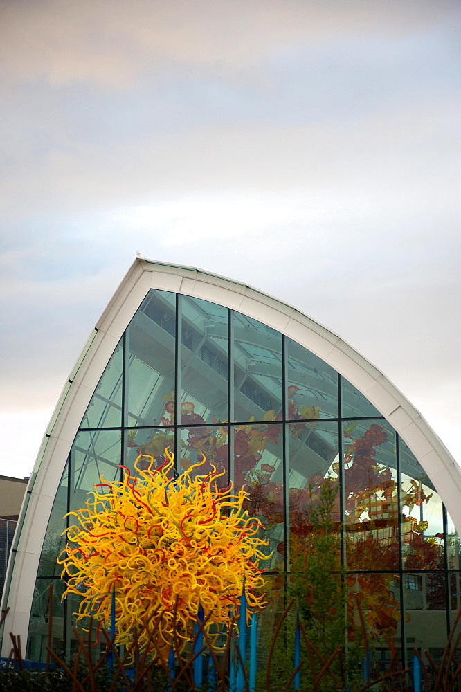 Exterior of the new Chihuly Glass Museum located below the Space Needle, Seattle, Washington State, United States of America, North America