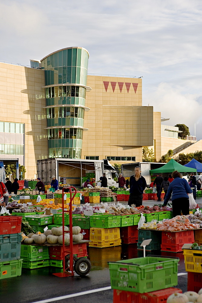 Fruit and vegetable market on a Sunday morning outside Te Papa, The Museum of New Zealand, Wellington, North Island, New Zealand, Pacific