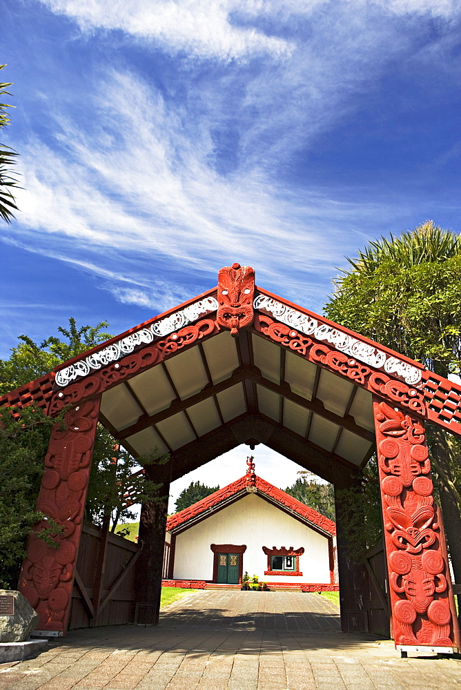 Entrance to a Maori meeting hall, Te Poho-o-Rawiri Meeting House, one of the largest marae in N.Z., Gisborne, North Island, New Zealand, Pacific - 755-180