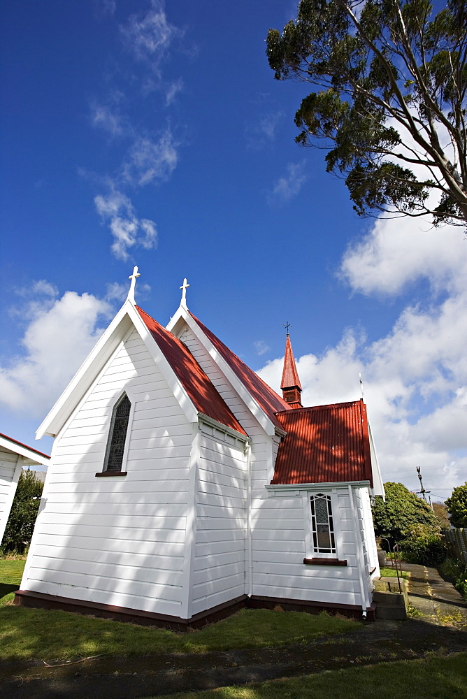 Traditional weatherboard church with corrugated iron roof, near Kimbolton, in rural Manawatu, North Island, New Zealand, Pacific