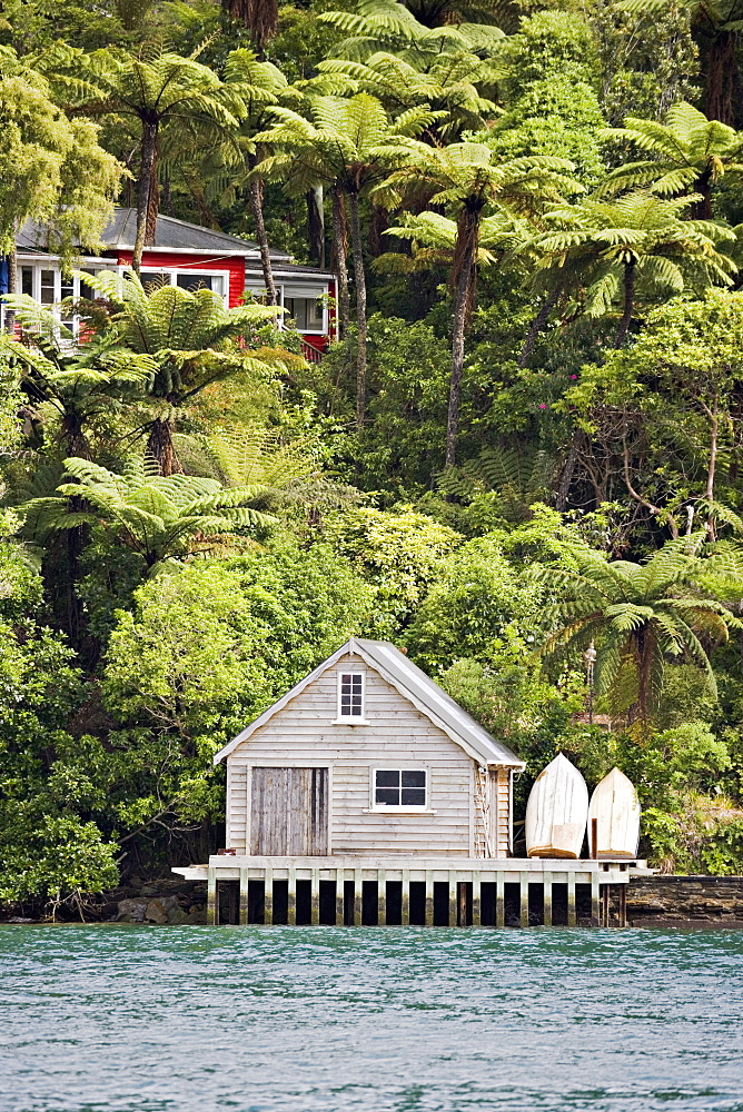 Kiwi bach or holiday home, with boat shed, Marlborough Sounds, South Island, New Zealand, Pacific