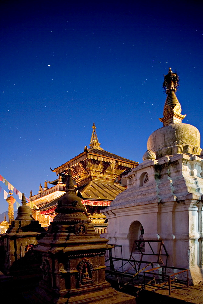 The constellation of Orion in the sky at dawn above the Hariti Mandir temple, dedicated to the goddess of smallpox, worshipped by Hindus and Buddhists, Swayambhunath, Kathmandu, Nepal, Asia