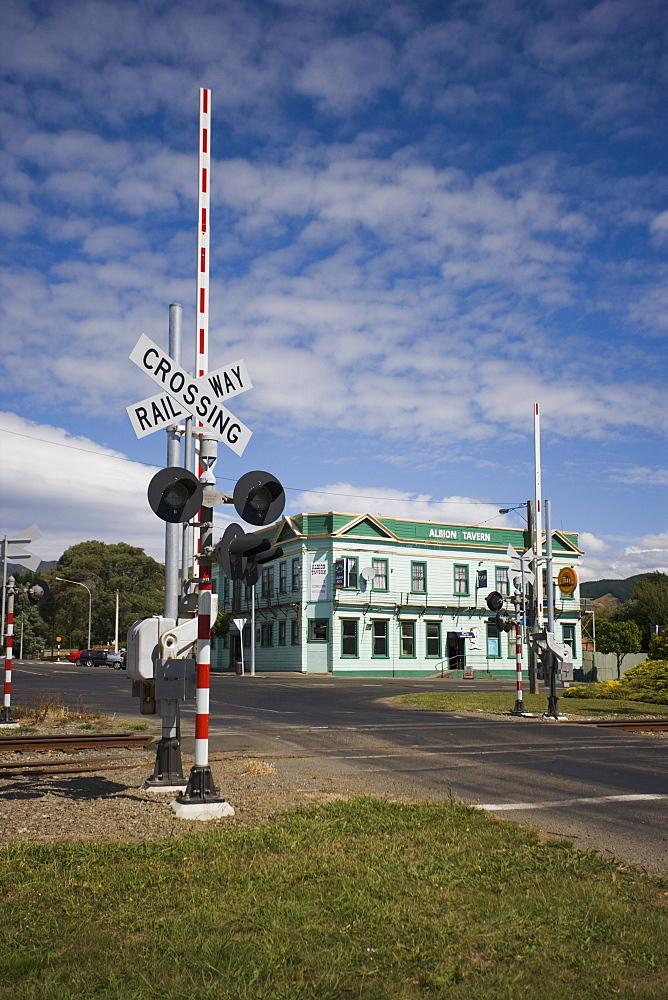 Railway crossing, Shannon, Manawatu, North Island, New Zealand, Pacific