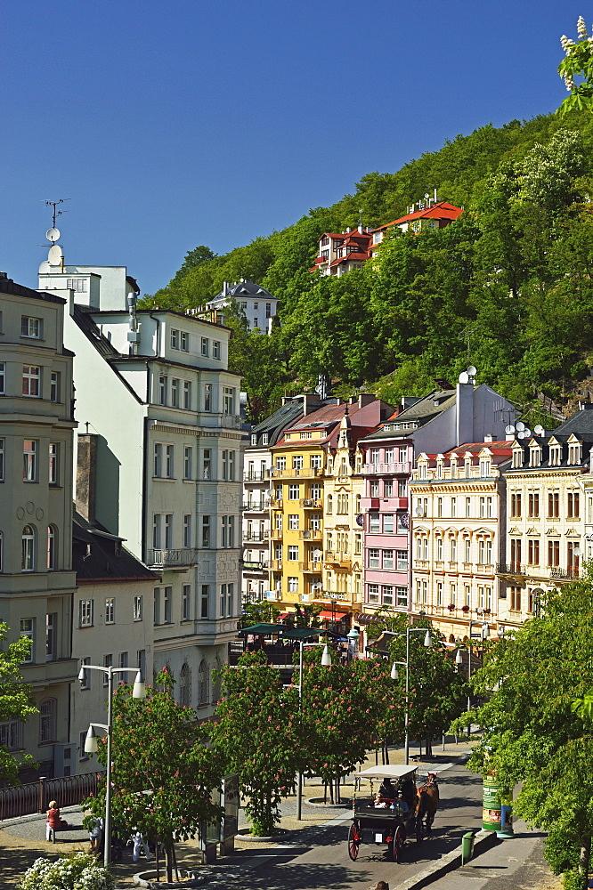 Historic spa section of Karlovy Vary, Bohemia, Czech Republic, Europe