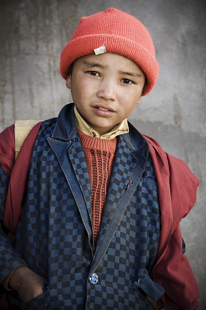 Portrait of Indian boy, Lamayuru, Ladakh, Indian Himalaya, India - 756-646