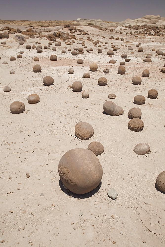 Spherical rock formations, Valle de la Luna National Park, San Juan, Argentina, South America