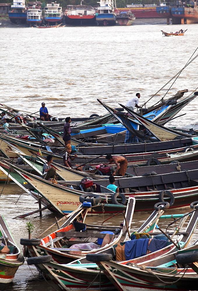 River life, passenger ferries, Yangon River, Yangon (Rangoon), Myanmar (Burma), Asia
