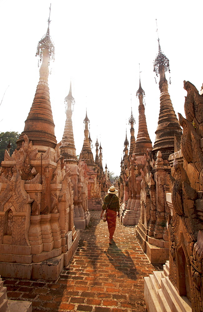 Kakku Pagoda Complex, tourist walks amongst more than 2000 pagodas, Shan state, Myanmar (Burma), Asia