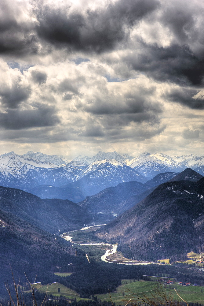 View from the Seekarkreuz to Karwendel Mountains and Isar, Germany, Mangfall Mountains, Bavaria