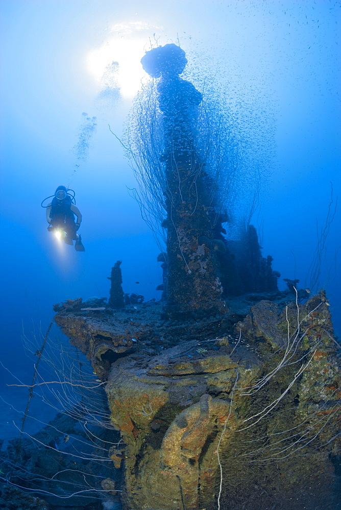 Diver at Tower of USS Apogon Submarine, Marshall Islands, Bikini Atoll, Micronesia, Pacific Ocean