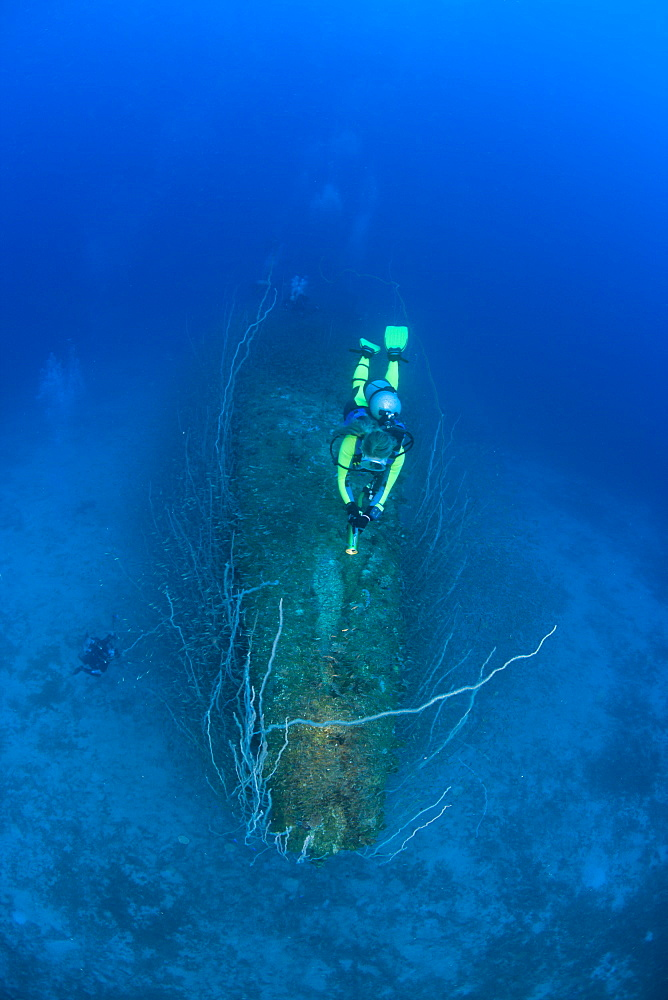 Diver over Bow of USS Apogon Submarine, Marshall Islands, Bikini Atoll, Micronesia, Pacific Ocean