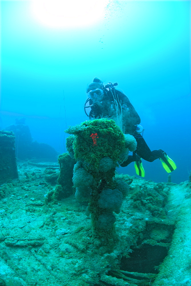 Diver and Engine Order Telegraph at Destroyer USS Lamson, Marshall Islands, Bikini Atoll, Micronesia, Pacific Ocean