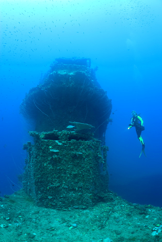 Bridge of USS Saratoga and Diver, Marshall Islands, Bikini Atoll, Micronesia, Pacific Ocean